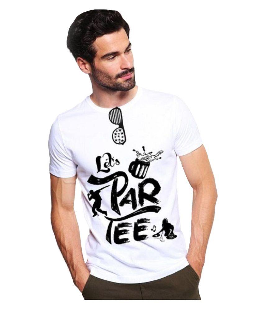 tee4me White Round T-Shirt