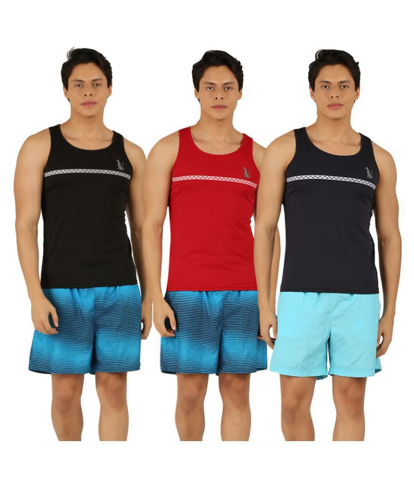 Leopardskyn Multicolor Sports Gym Vests - Pack of 3