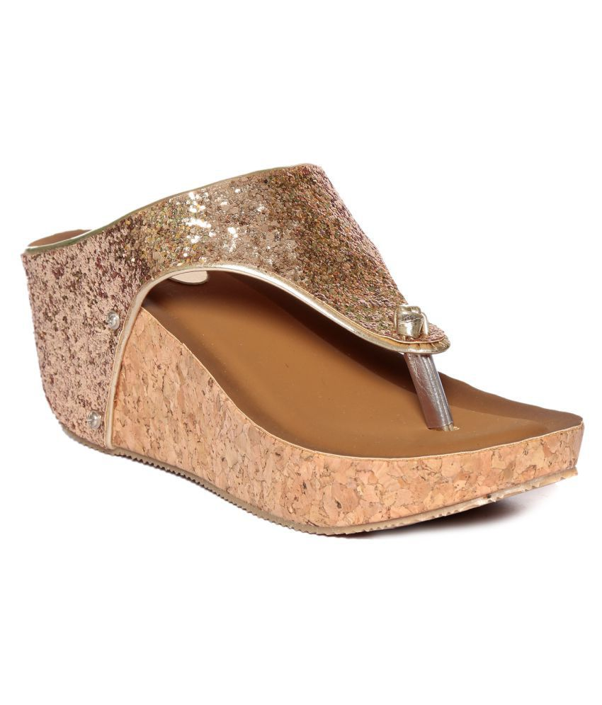 Adorn Gold Wedges Heels