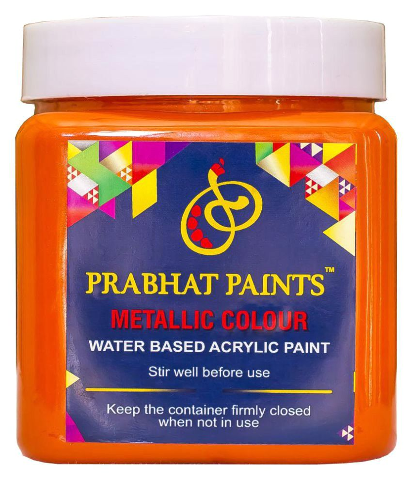 Prabhat Paints Acrylic Metallic / Pearl Colours (1KG, Orange Peel ) (Water based paint)