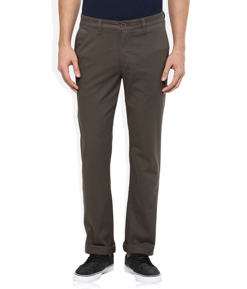 Wills Lifestyle Dark Brown Slim Flat Trouser