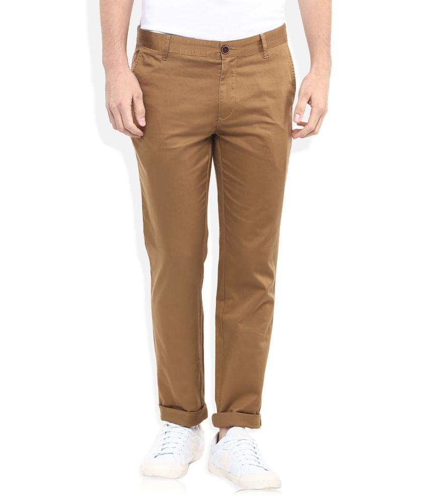 Wills Lifestyle Khaki Skinny Flat Trouser