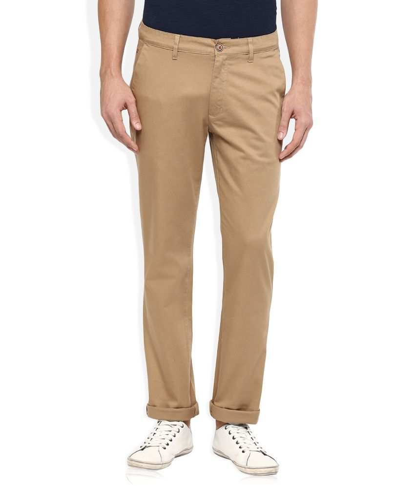 Wills Lifestyle Khaki Slim Flat Trouser
