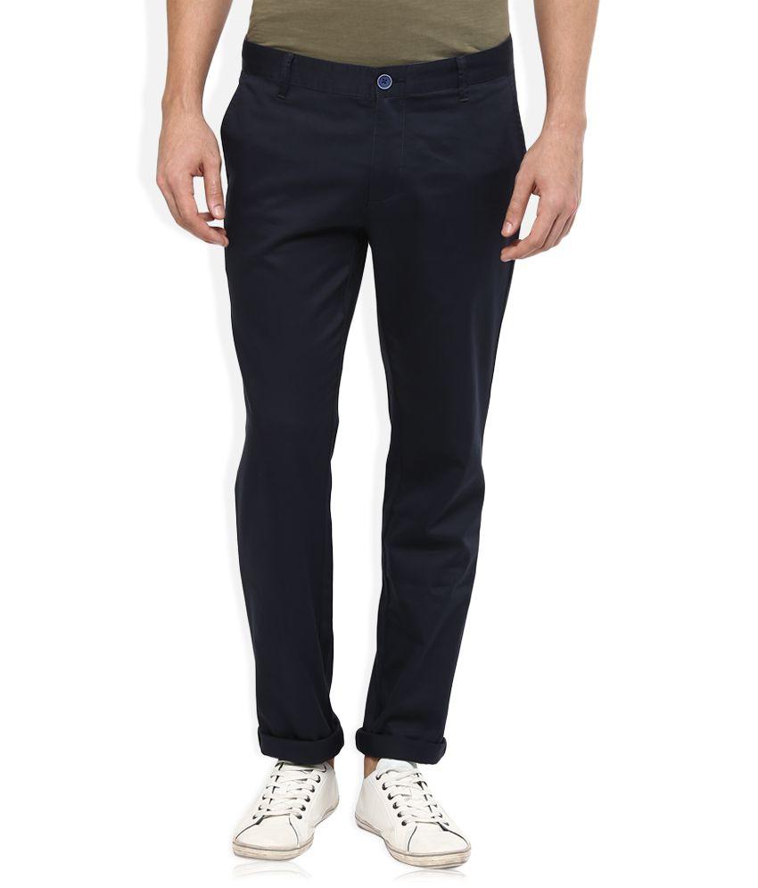 Wills Lifestyle Navy Blue Skinny Flat Trouser