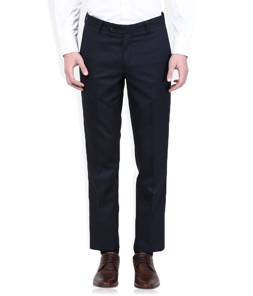 Wills Lifestyle Navy Blue Slim Flat Trouser