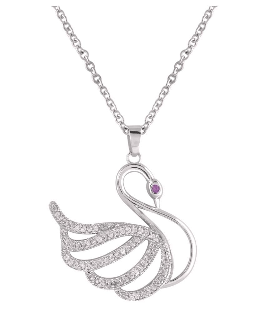 Shaze Rhodium-Plated Swan Pendant