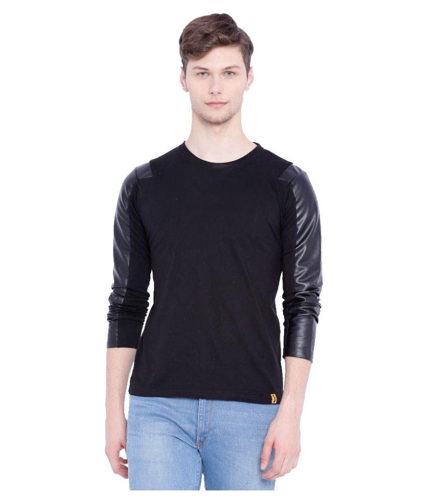 Campus Sutra Black Round T-Shirt