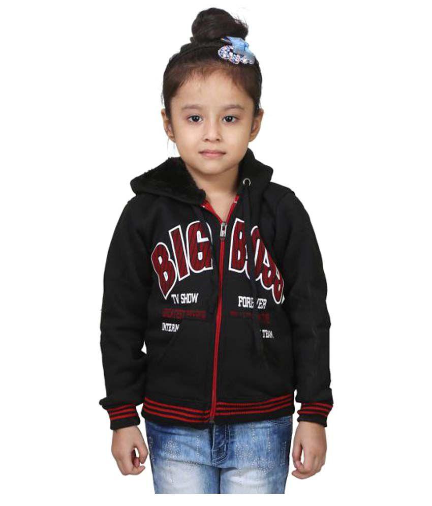 Crazeis Black Wollen Winter Jackets for Girl's