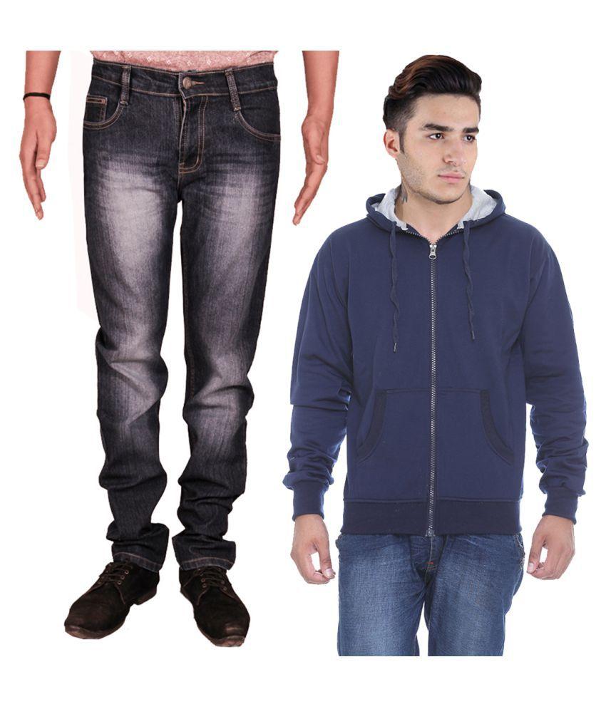 Van Galis Black Regular Fit Washed Jeans with Sweatshirt