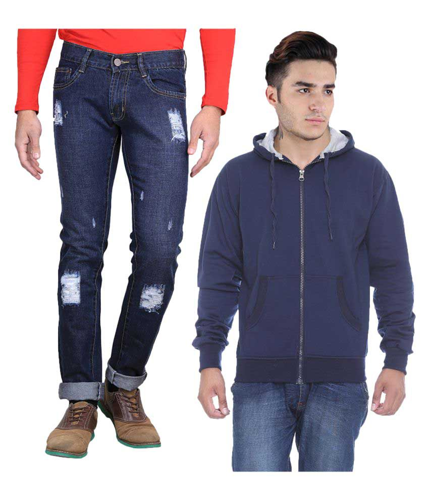 Van Galis Blue Regular Fit Distressed