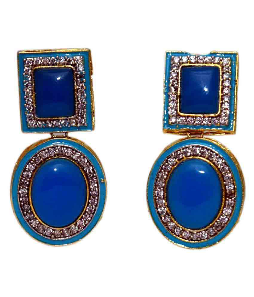 DLS Jewellery Blue Hanging Earrings