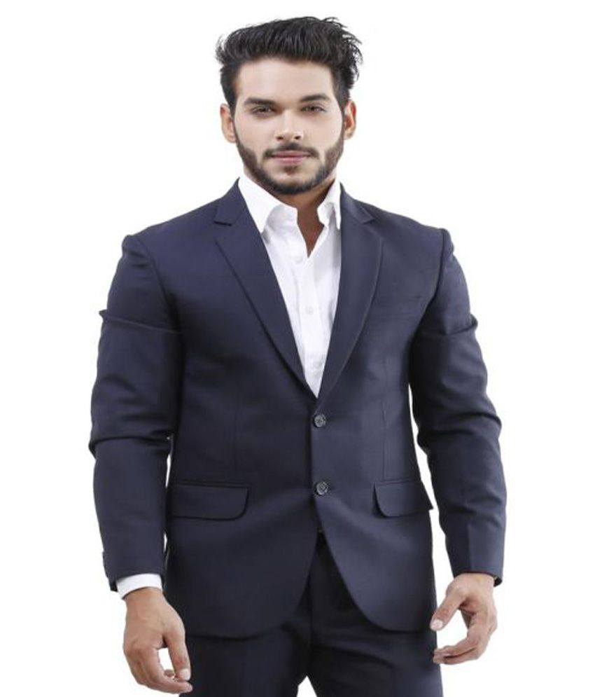 La Mode Blue Solid Formal Suit