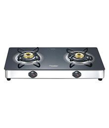 "Prestige Royale Plus GT 02 SS ""2 Burner"" Glass Manual Gas Stove"