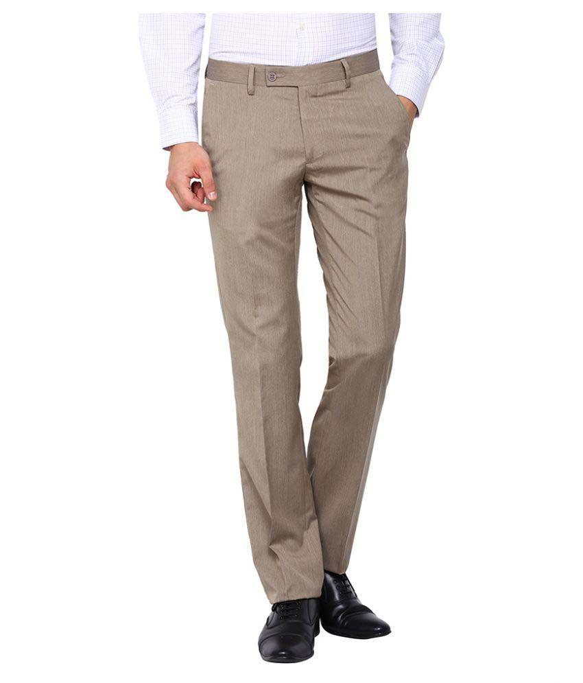 Arrow Khaki Slim Flat Trouser