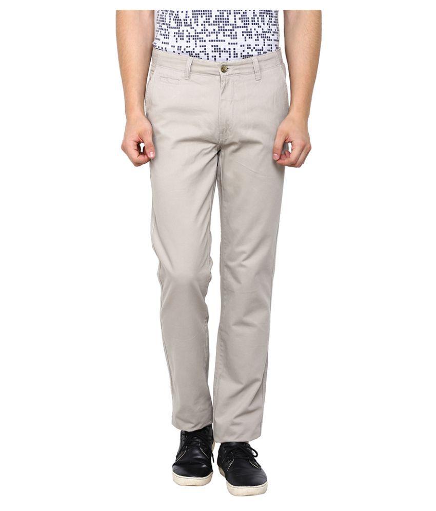 Arrow Sports Grey Slim Flat Trouser