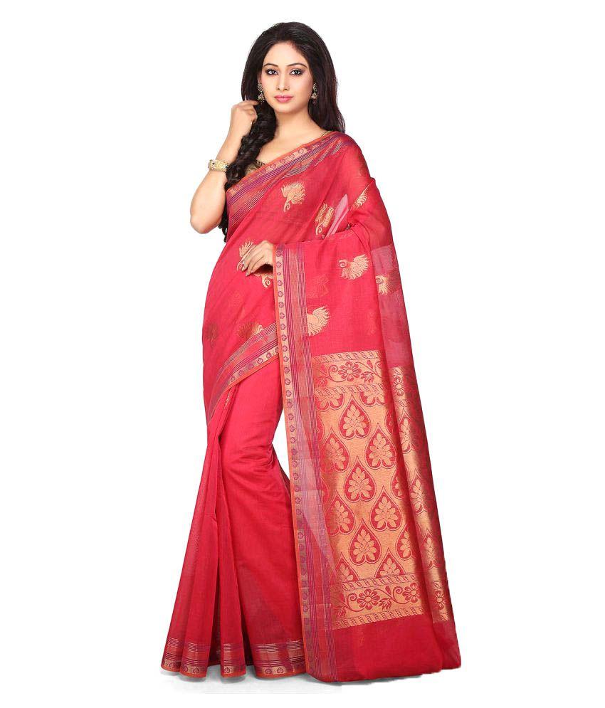 Pratami Red Cotton Silk Saree