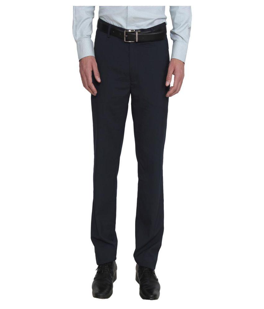 La Mode Blue Regular Flat Trouser