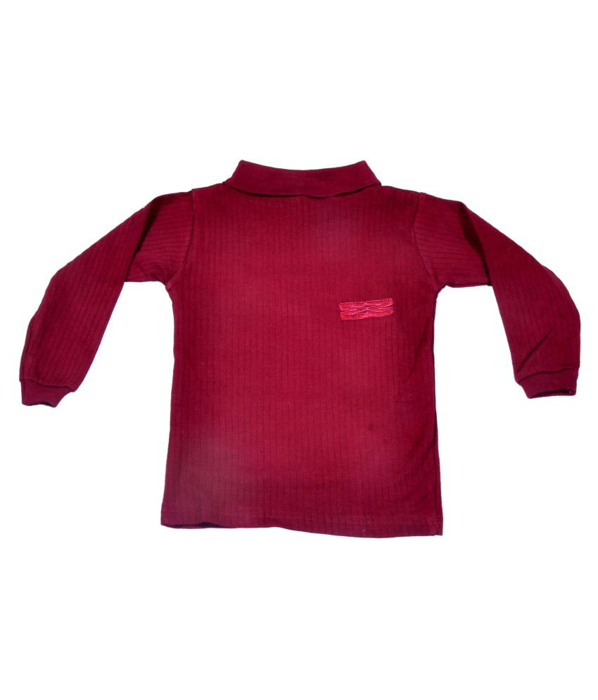 Hey Baby Maroon Cotton Pullover