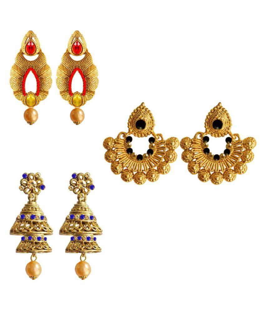 Pihu Multicolor Combo Earrings - Pack of 3