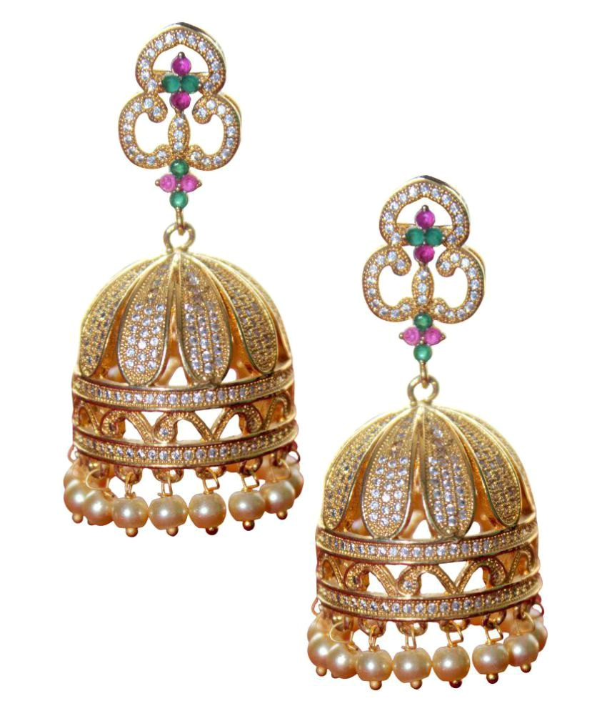 Sai Sri Retailers Golden Jhumki Earrings