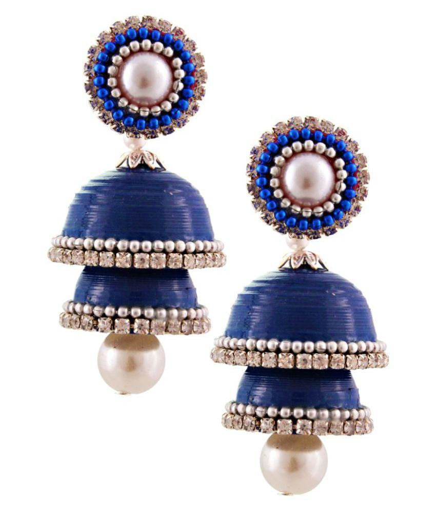 Creative_Studio Blue Handcrafted Jhumkis