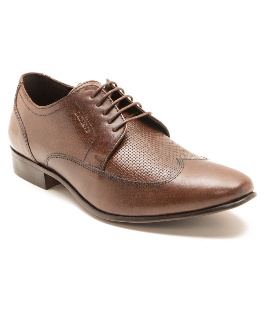 Red Tape Brown Derby Genuine Leather Formal Shoes