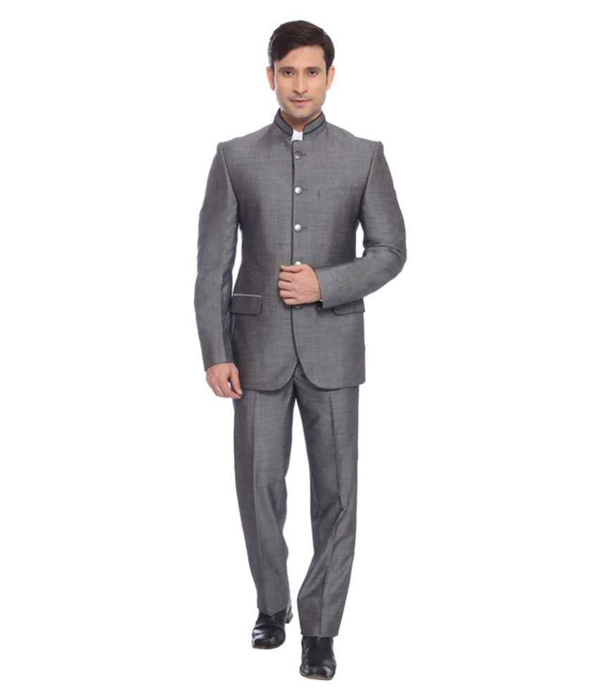 Raymond Grey Solid Formal Suit