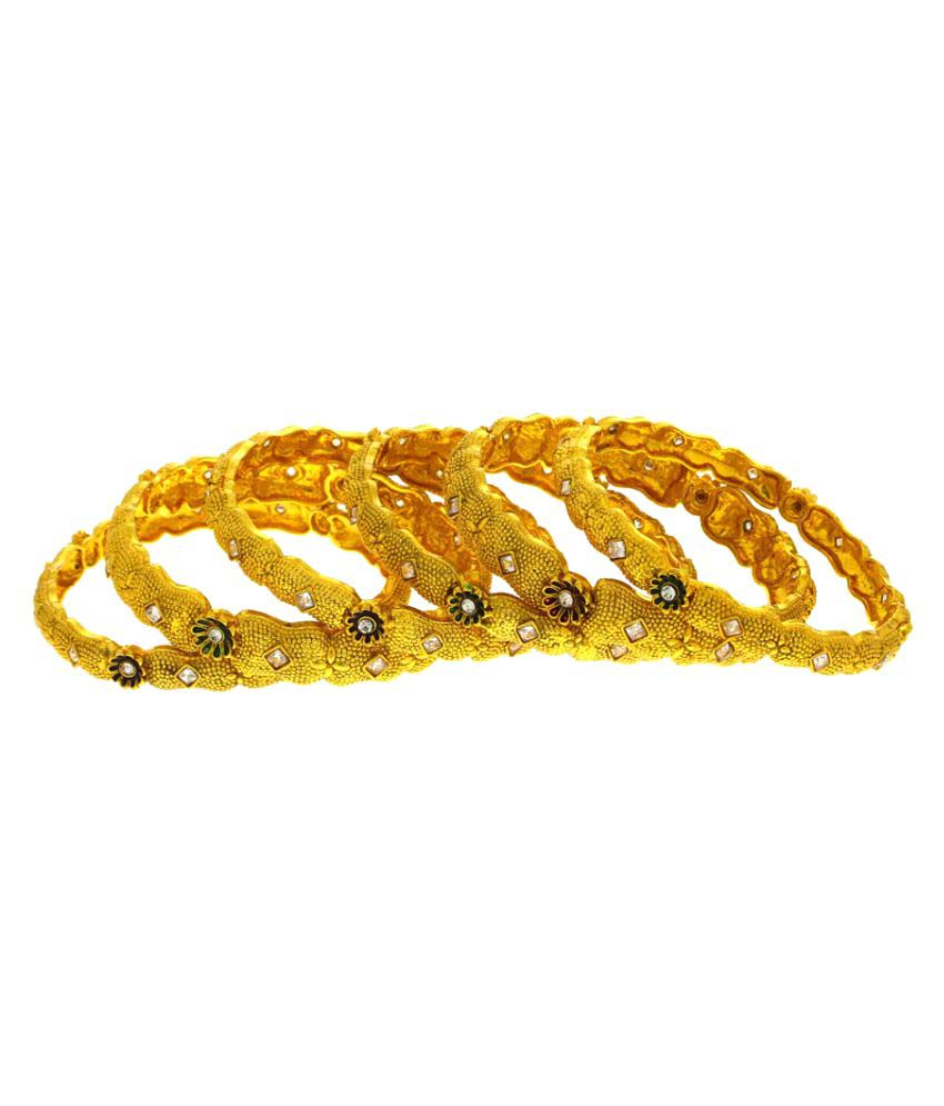 Anuradha Art Golden Alloy  Bangle Set