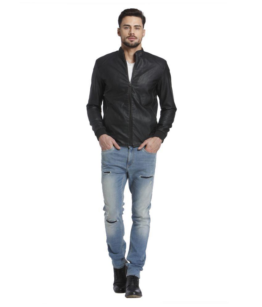 Leather jacket jack and jones -  Jack Jones Black Leather Jacket