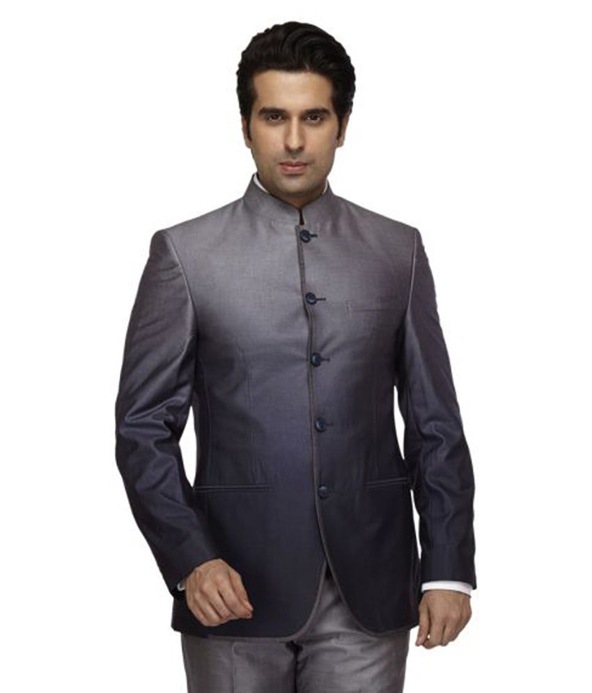 Park Avenue Grey Solid Formal Suit