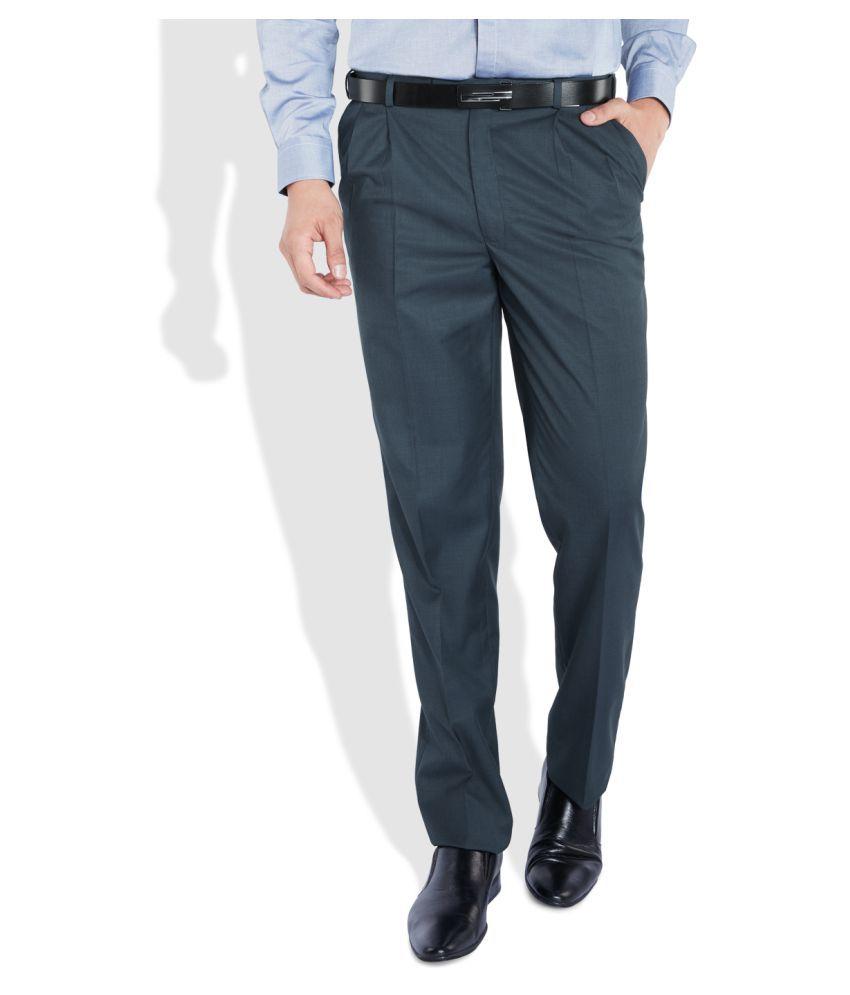 Raymond Blue Regular Pleated Trouser