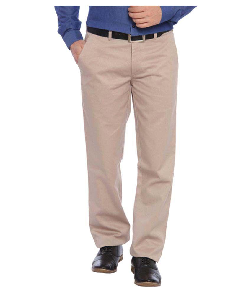 Colorplus Brown Regular Flat Trouser