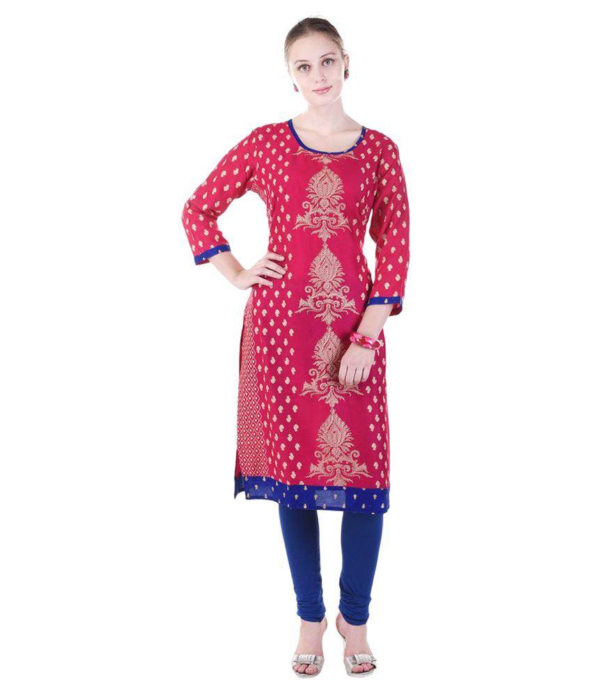 Fab Rajasthan Red Cotton Straight Kurti