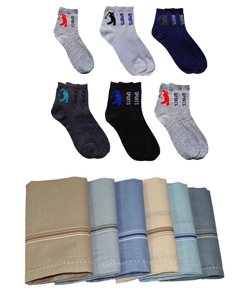 Aadikart Multicolour Cotton Combo of 6 Socks and 6 Handkerchiefs
