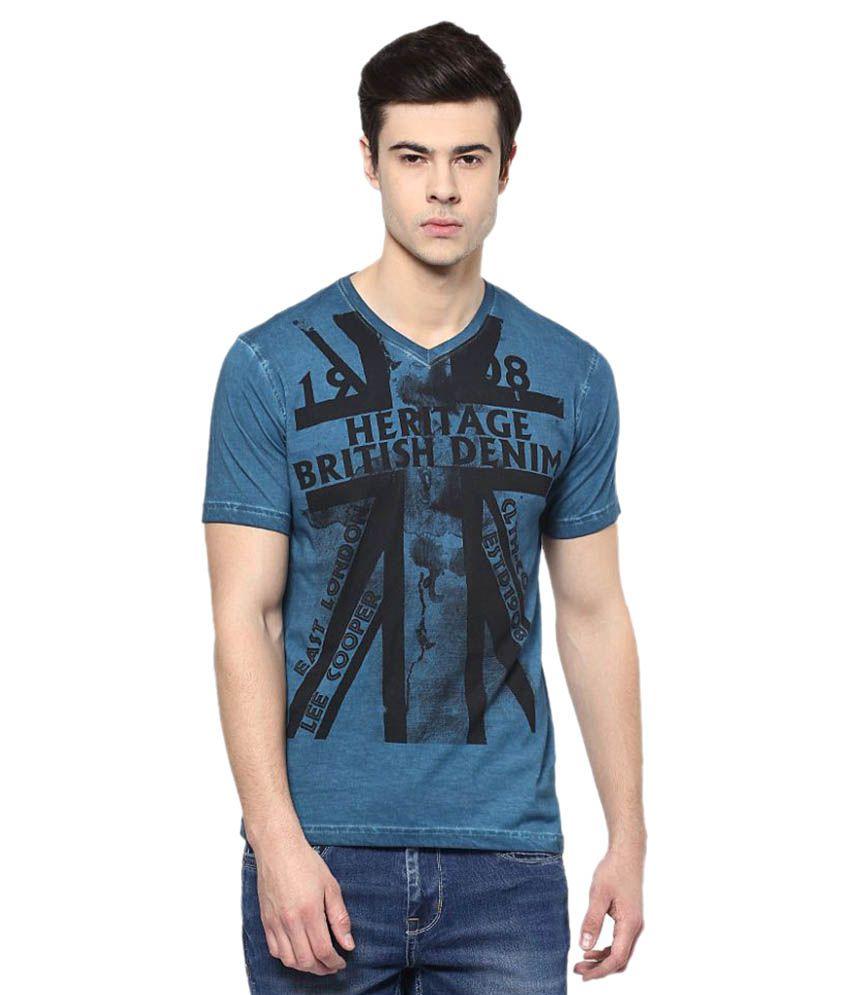 Lee Cooper Blue V-Neck T-Shirt