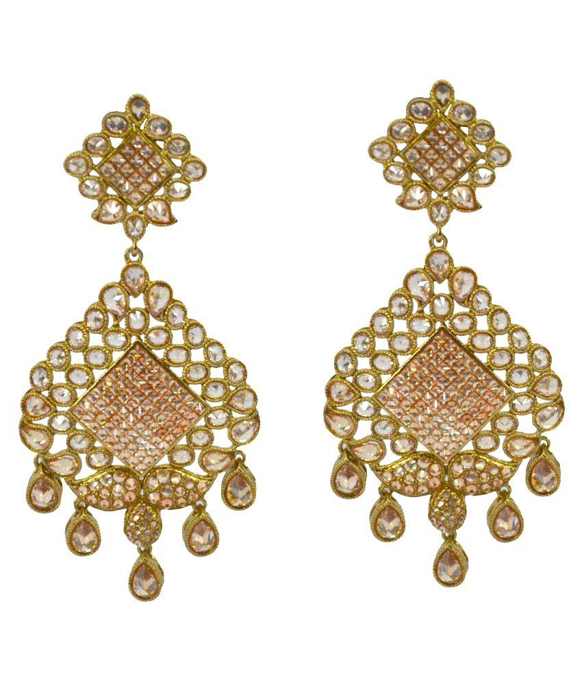 Saloni Fashion Jewellery Golden Brass Drop Earrings