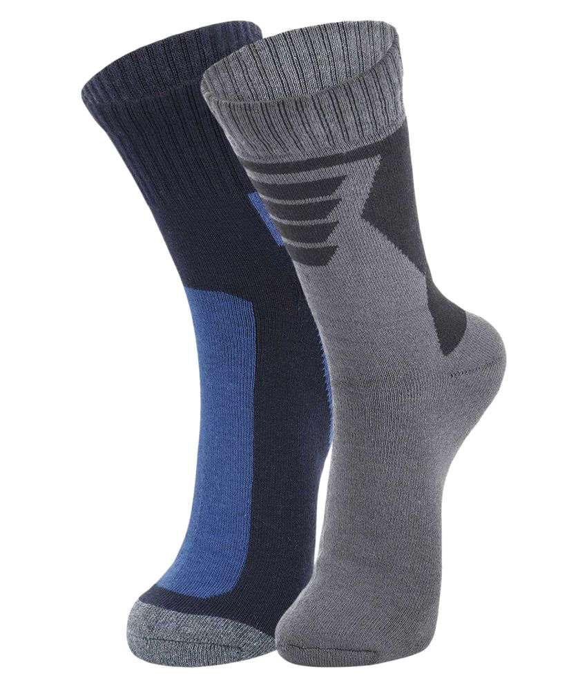 Dukk Blue Casual Mid Length Socks