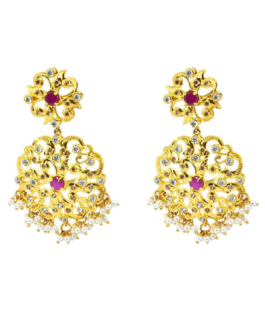 Saloni Fashion Jewellery Golden Hanging Earrings