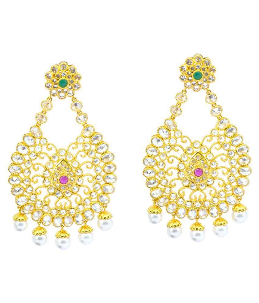 Saloni Fashion Jewellery Golden Hangings Earrings