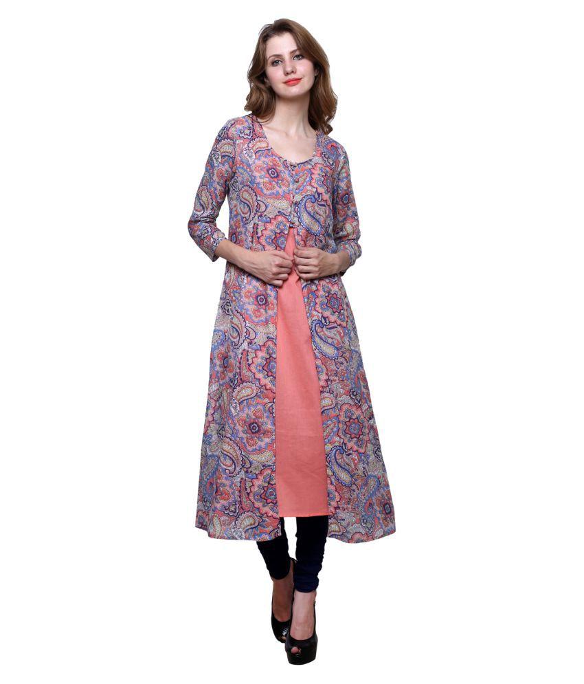 Trendsnu Multicoloured Cotton Straight Kurti