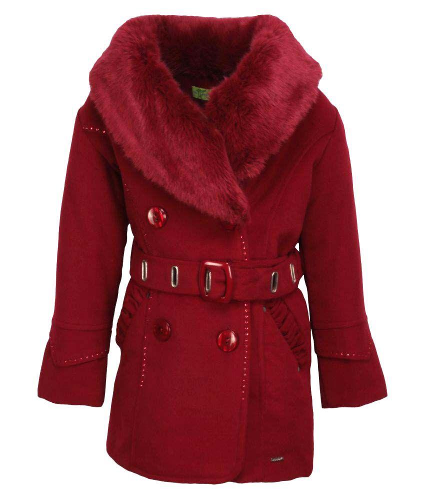 Cutecumber Maroon Polyester Coats