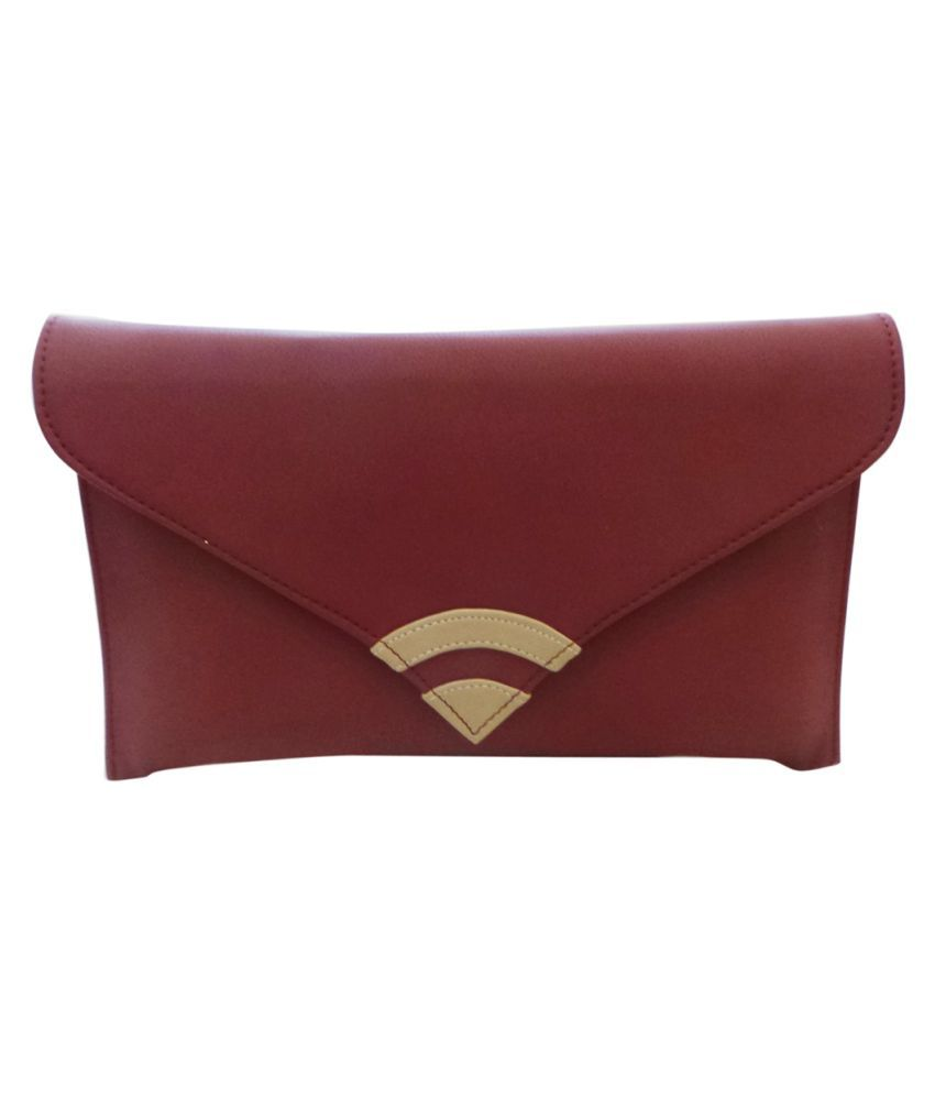 Bhamini Maroon Fabric Box Clutch
