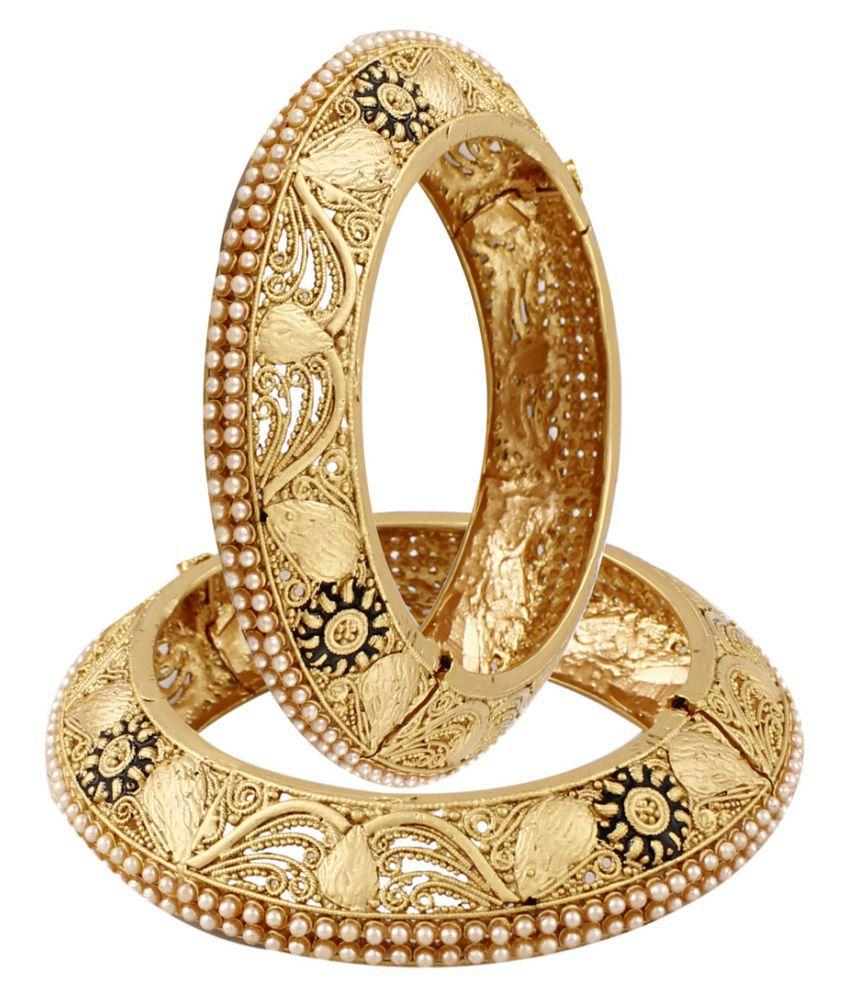 Bellofox Gold Plated Polki Style Partywear Bangle - Set of 2