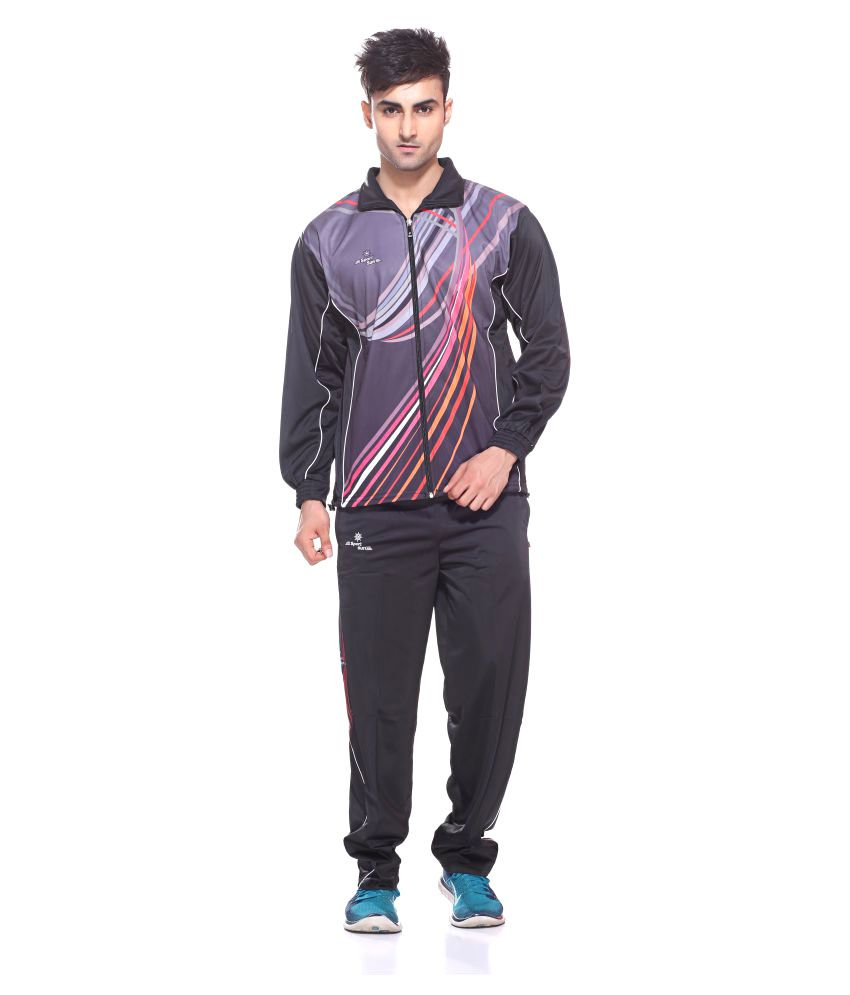 Sport Sun Sportswear Sublimation Print Black Polyester Tracksuit