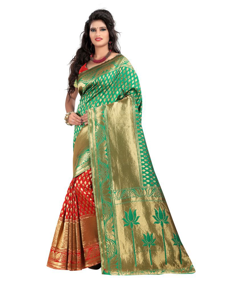 Just Fashion Green and Beige Banarasi Silk Saree