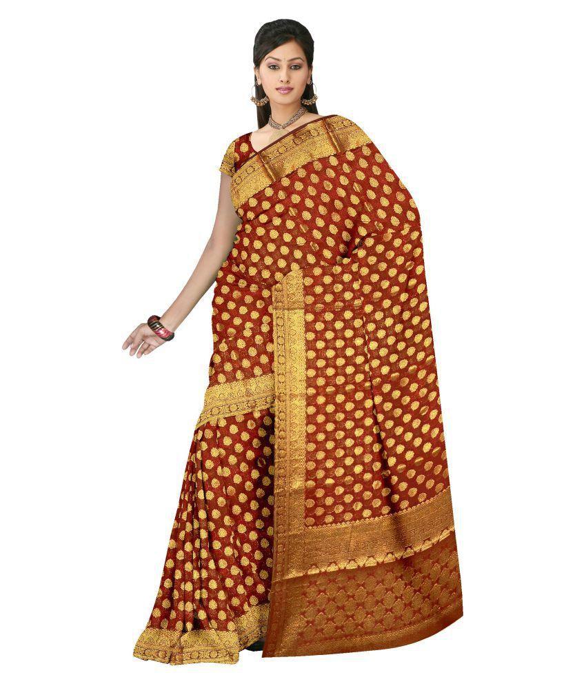 Zeeshan Sarees Maroon Silk Saree