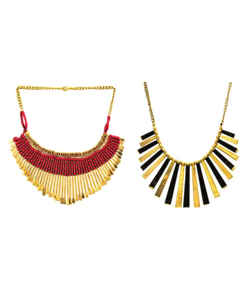 Fedexo Multicolour Alloy Necklace Pack of 2