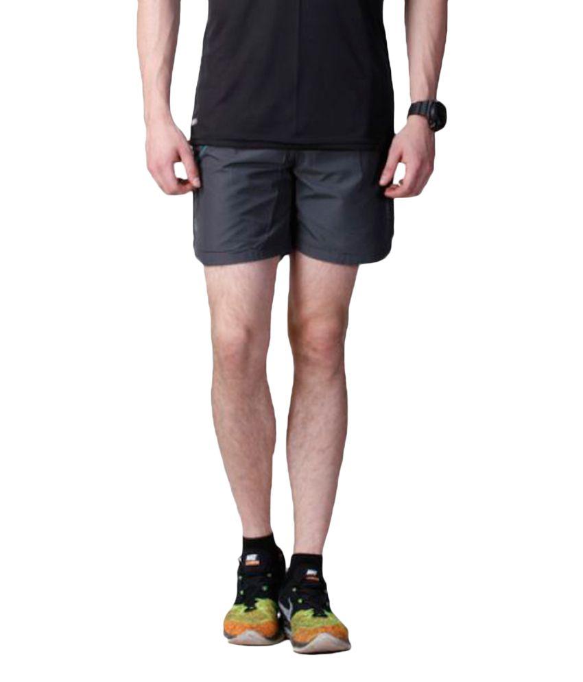 Atheno Grey Polyester Running Shorts