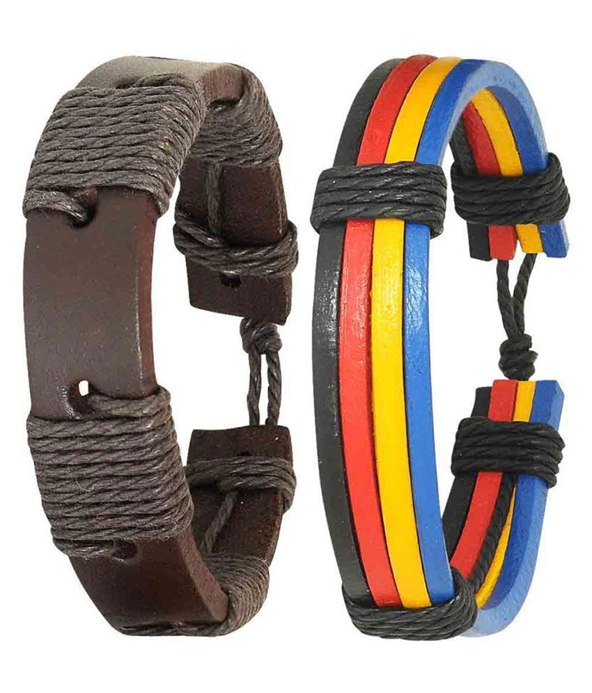Maayra Multicolor Leather Bracelet - Pack of 2
