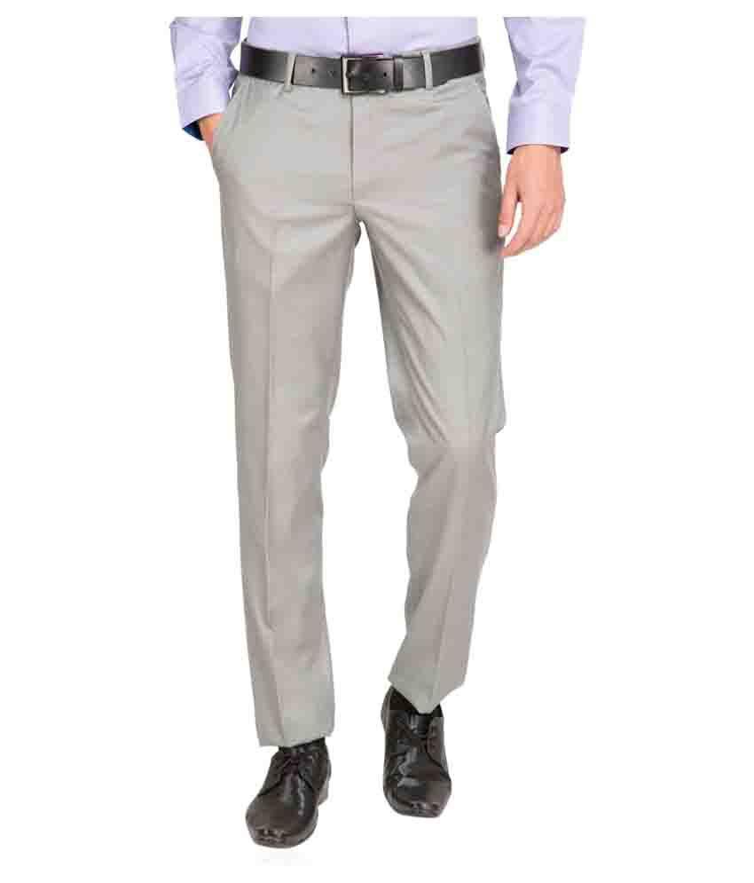 Black Coffee Grey Regular Flat Trouser